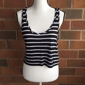 Aritzia black and white striped crop top NWT